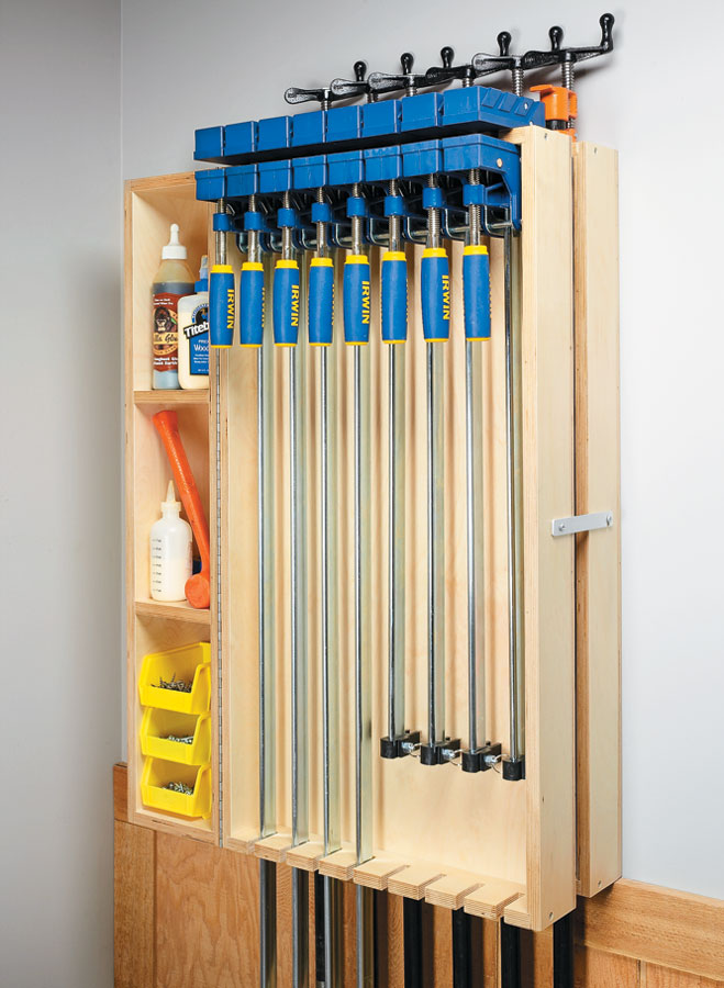 Wall Mounted Clamp Rack Woodworking Project Woodsmith Plans