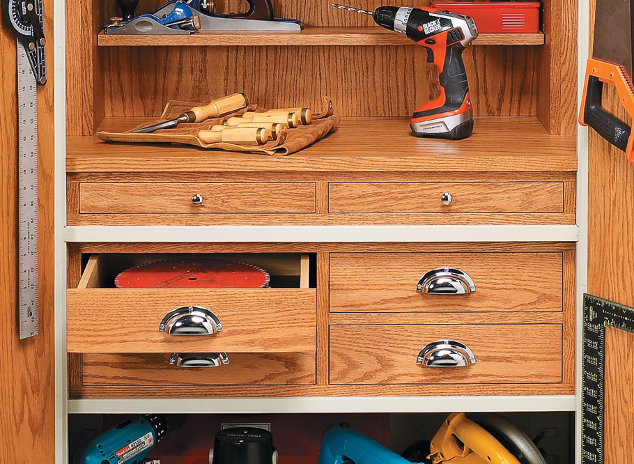 Customize an ordinary steel storage cabinet to hold a shop full of tools and supplies.