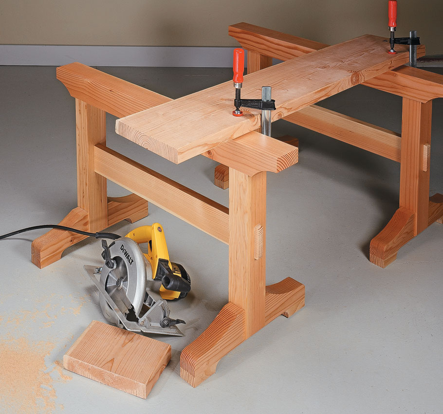 Traditional joinery and a heavy-duty trestle design add up to a sawhorse that's built to last.