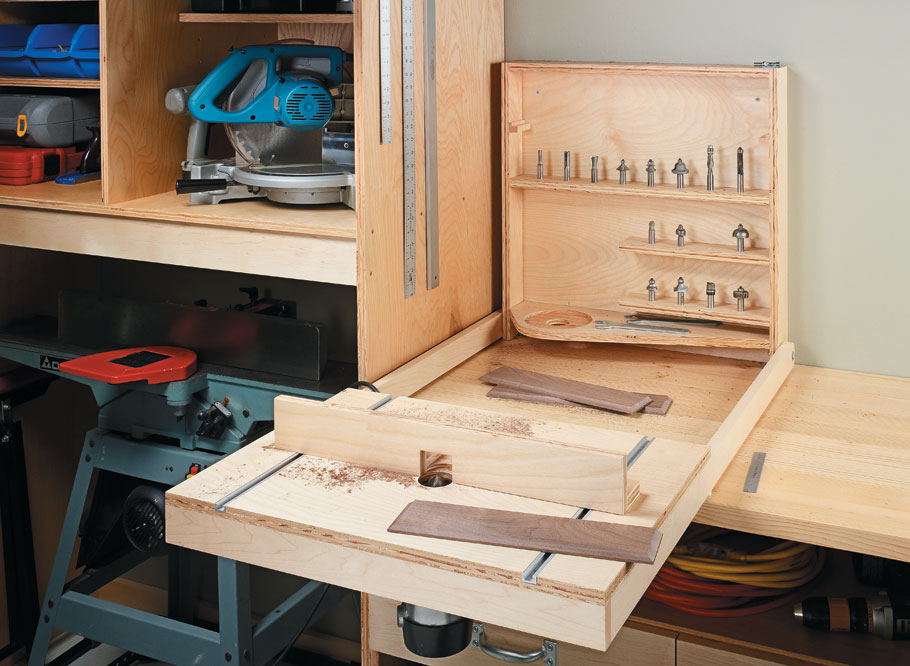 Simple construction and inexpensive materials add up to organized storage and an efficient work area.