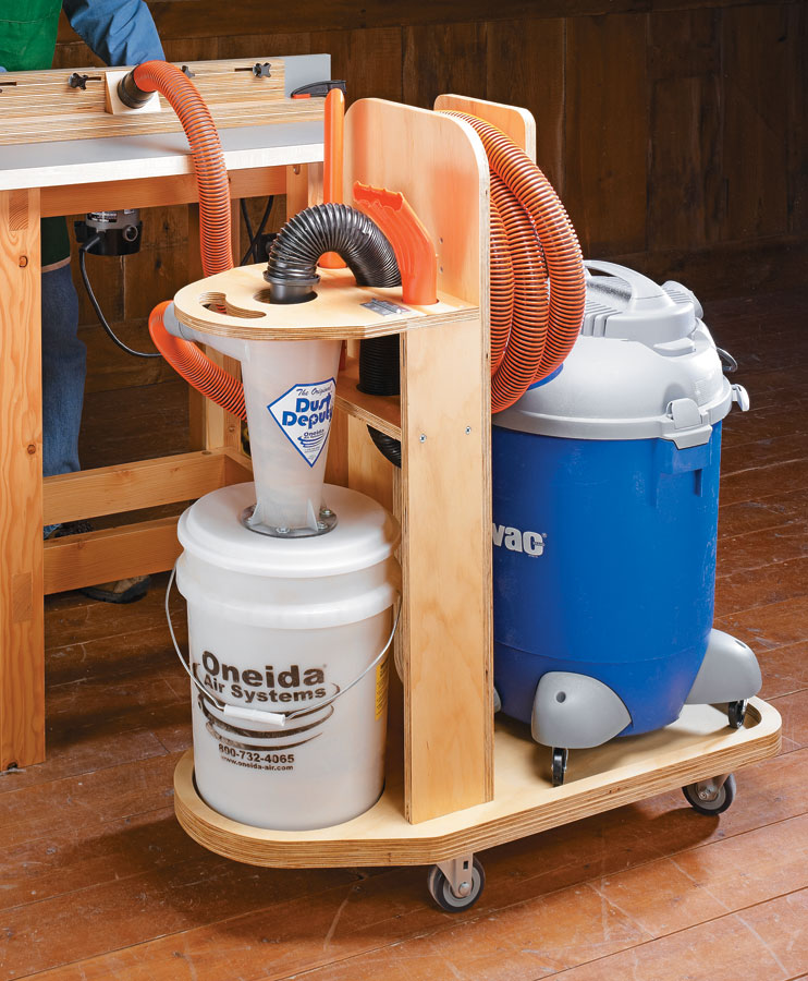 A low-cost cyclone kit and this simple cart turn a shop vacuum into a top-notch dust collector that can go anywhere in the shop.