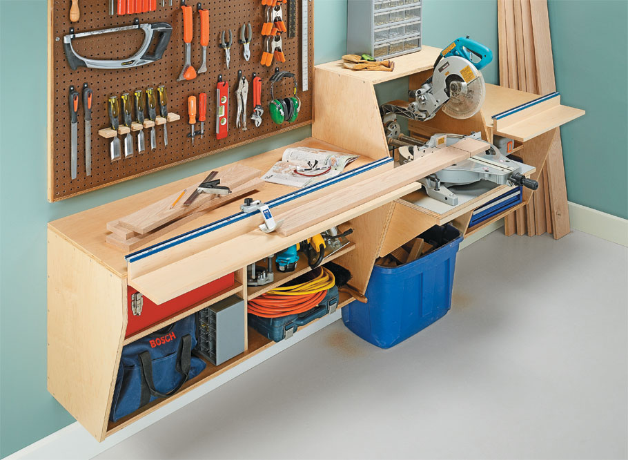 A rock-solid platform and a unique flip-up fence system team up with your miter saw for precise cuts.