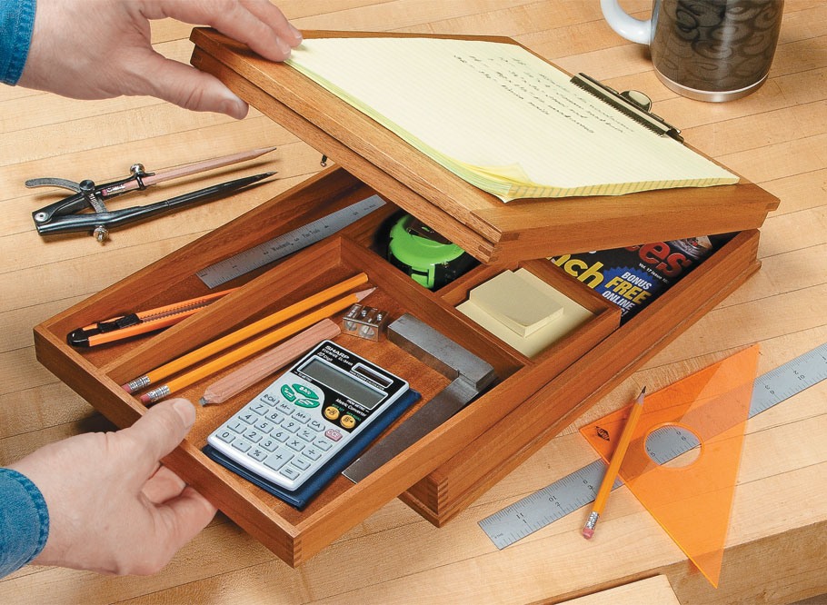 Finger joints add classic styling and strength to this hardworking, take-along shop desk.