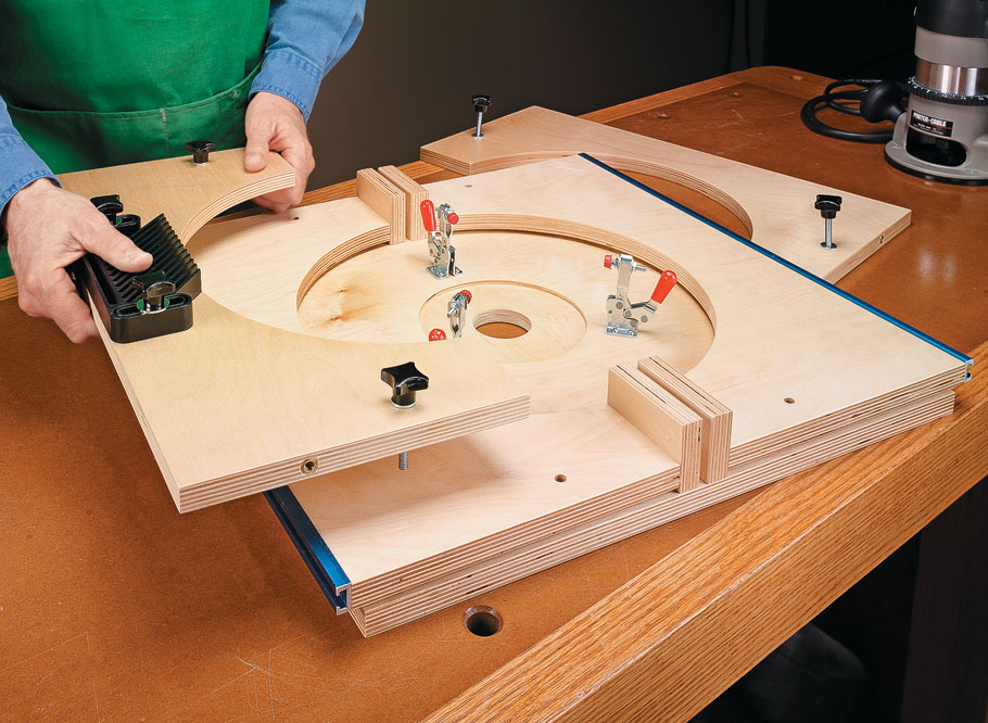 This briefcase-sized package transforms into a full-featured benchtop router table in minutes, and folds up for storage just as quick.