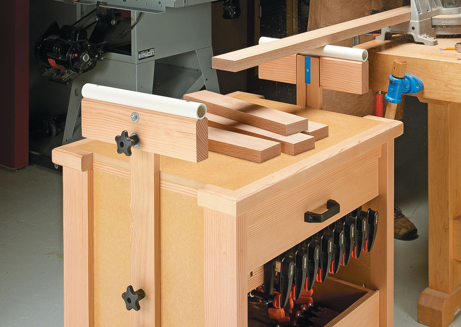 This handy shop cart is a tool storage center, an adjustable stock support system, and a workstation all in one compact package.