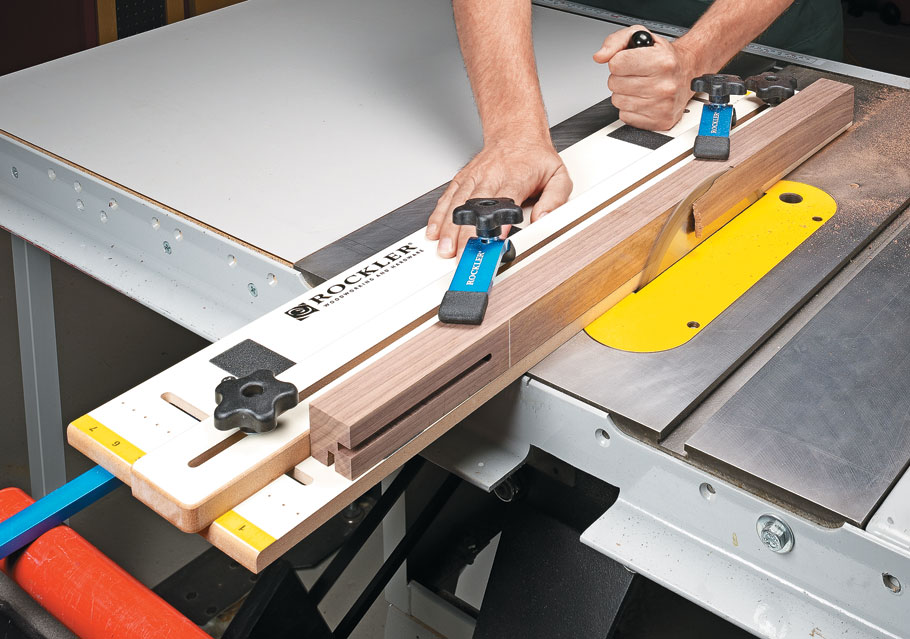 In a few hours, you can build an adjustable jig for making a wide range of angled cuts on your table saw.