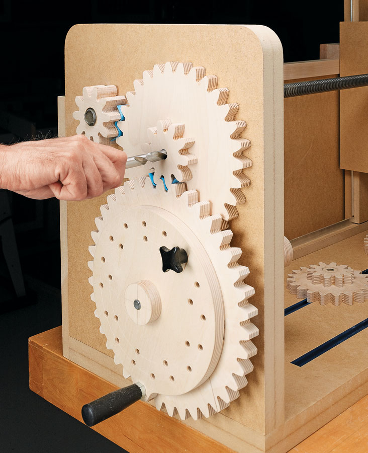 Kick it into gear! You can shape table legs and add decorative details to workpieces with this unique, shop-built router jig.