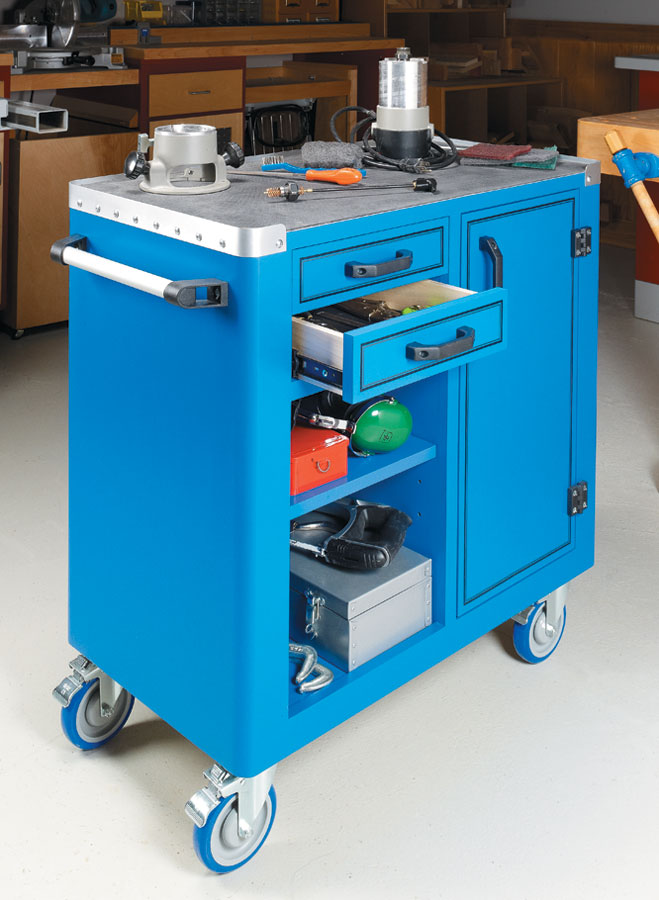 This versatile cart combines storage space and a handy worksurface in a compact, roll-around package.