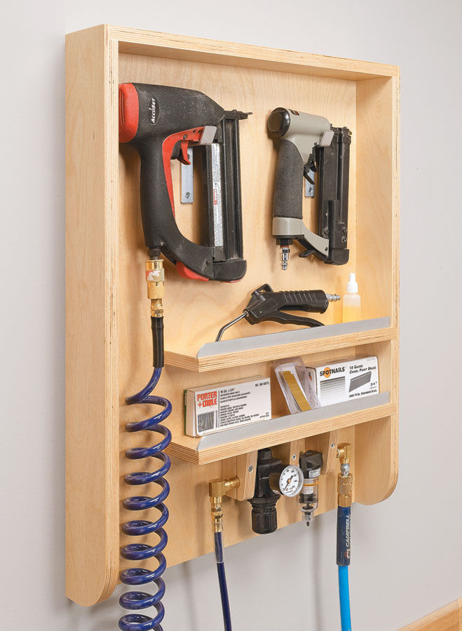 Spend a few hours shop time making a convenient home for your air nailers and accessories.