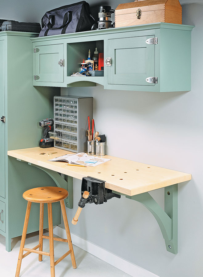 This great-looking, wall-hung workbench is compact but built for heavy-duty woodworking. Plus, you can add the handsome, upper cabinet for extra storage space.