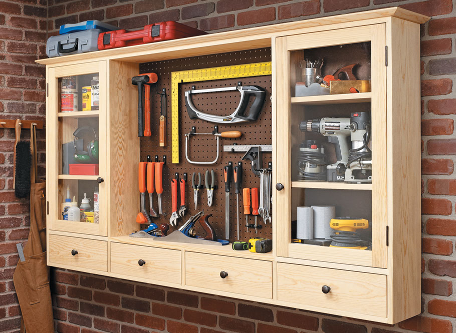 Good looks and strong, simple joinery combine to create a lot of practical storage for your tools.