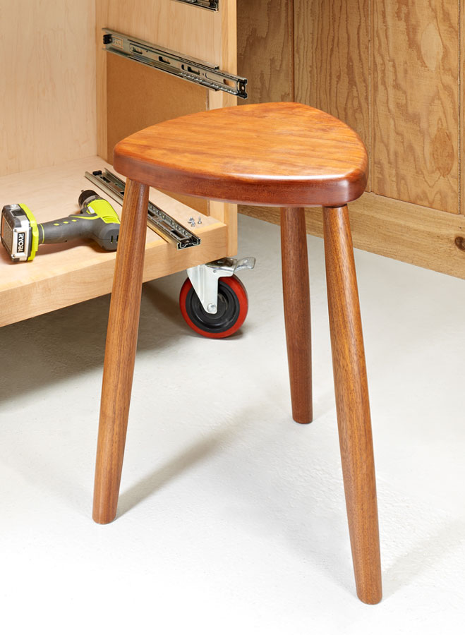 This stool is a good height for many jobs around the shop. And it can be yours this weekend.