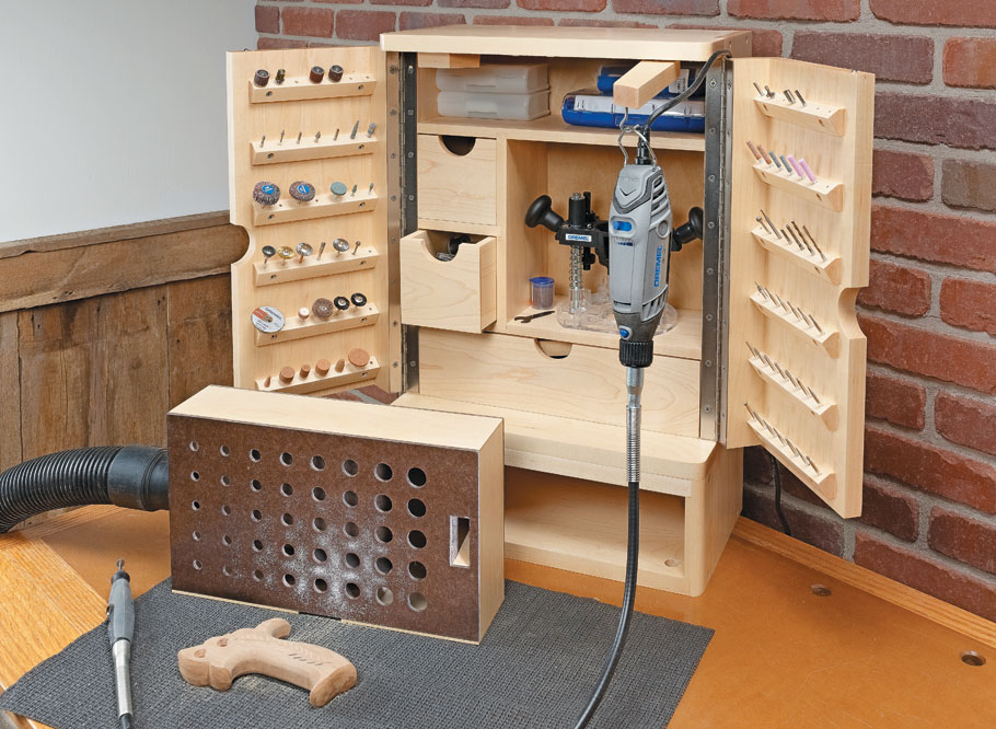 This handy shop fixture makes it easy to both organize and use a rotary tool and its accessories.