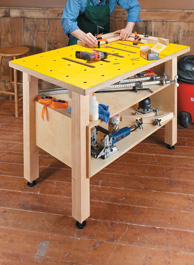 This handy project combines a large, flat worksurface with flexible clamping options and extra storage.
