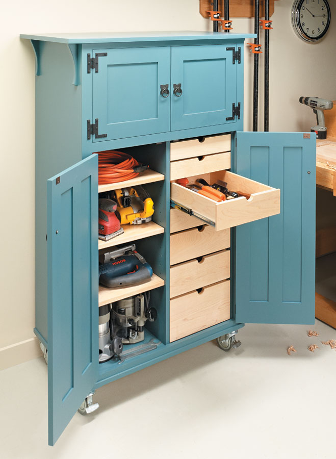 Organize and store your power and hand tools in style with this classic cabinet design.