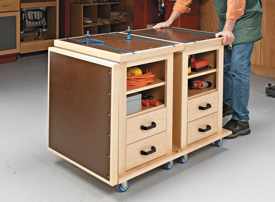 This handy pair of roll-around carts can link together to form an assembly table for your shop.