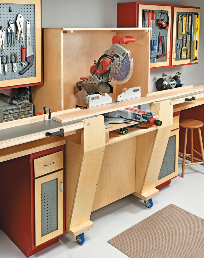 Give your miter saw the home it deserves on this versatile workstation. The folding wings make it easy to store when not in use.
