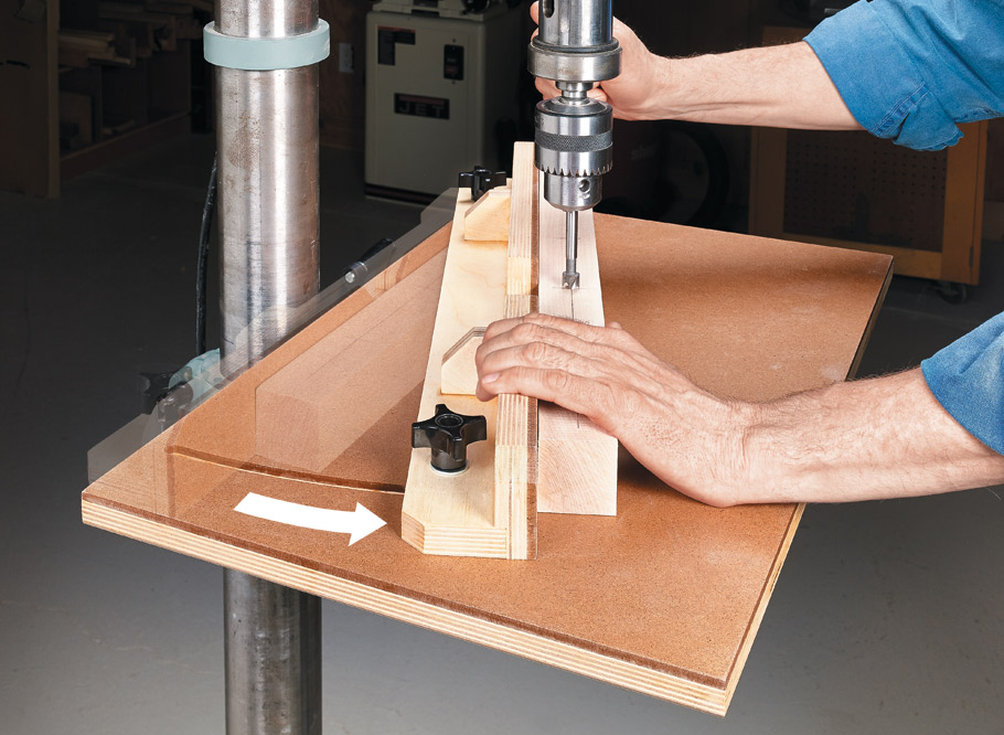 A drill press is a staple in the shop. Upgrade yours with this quick and easy drill press table.