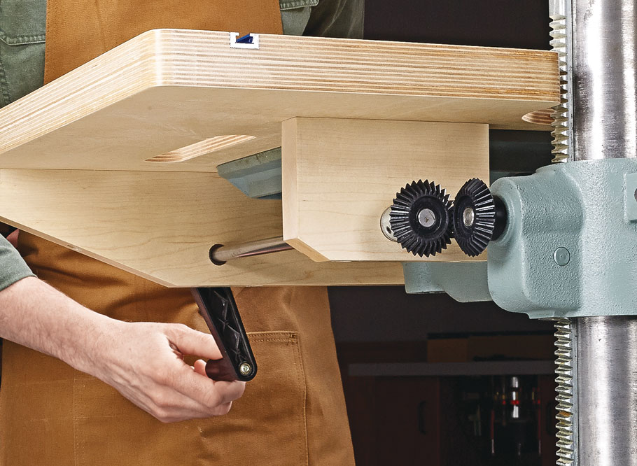 Upgrade your drill press with this handy add-on that features up-front adjustment handles.