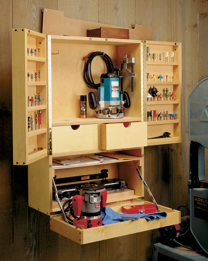 This dedicated Router Bit Cabinet is a great way to store and organize accessories for one of your most-used tools.