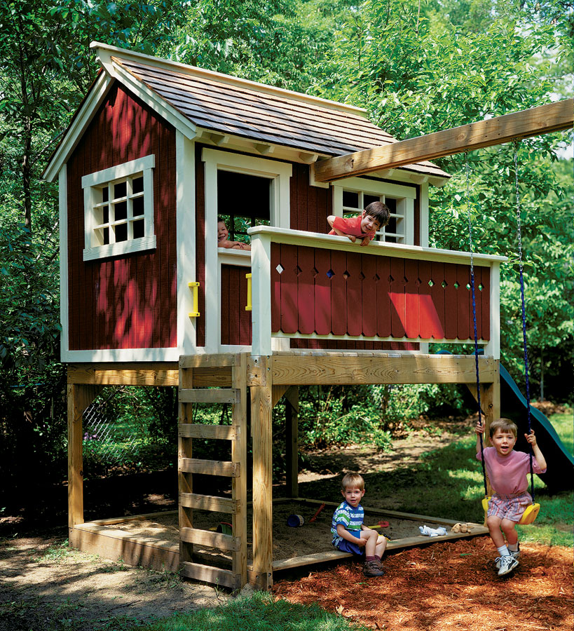 backyard playhouse woodworking project woodsmith plans rh woodsmithplans com backyard playhouse with slide playhouse backyard