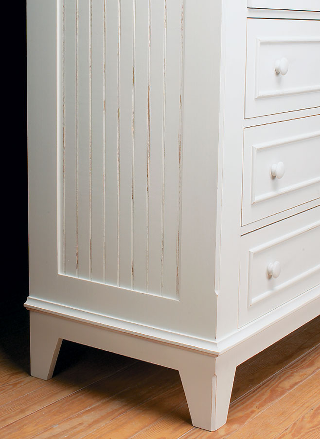 Beadboard panels, applied moldings, and an