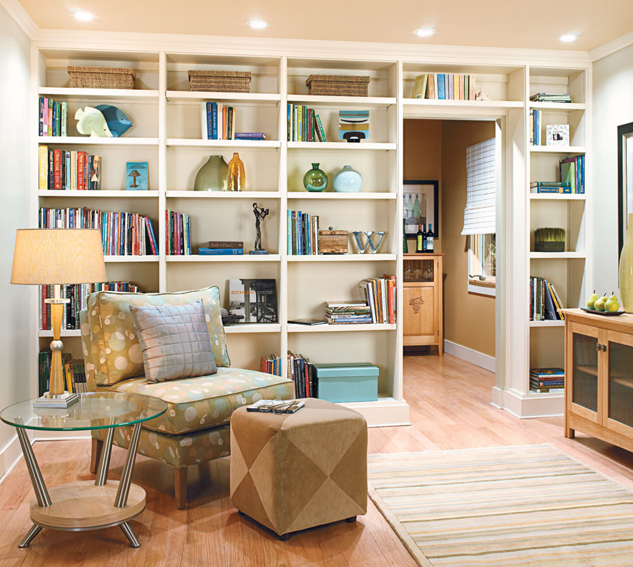Simple construction and low-cost materials provide the surprise ending in this tale of a room reborn as a library.