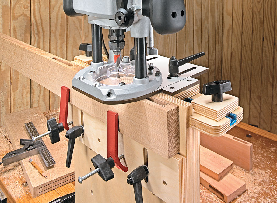 This simple, shop-made jig transforms your plunge router into a precision mortising machine and guarantees fast, easy, and accurate mortises.