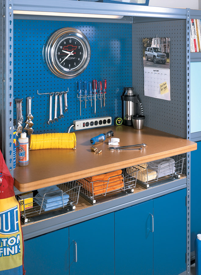 Convert store-bought storage racks with plywood and pegboard panels, to create the garage storage system of your dreams.