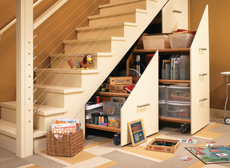 Tame that monstrous mess under your stairs and reclaim living space in your basement with these rolling storage cabinets.