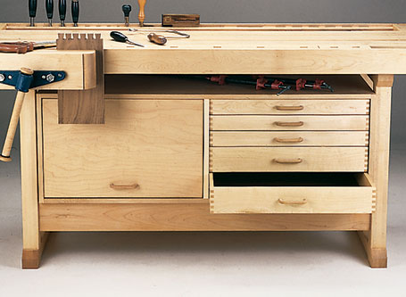 This space-saving cabinet adds storage to your workbench, plus its weight adds a little extra strength and stability.