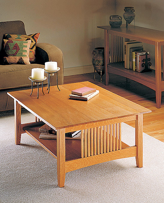 Quartersawn oak, mortise and tenon joinery, and a beveled glass top make this coffee table a welcome addition to any home.