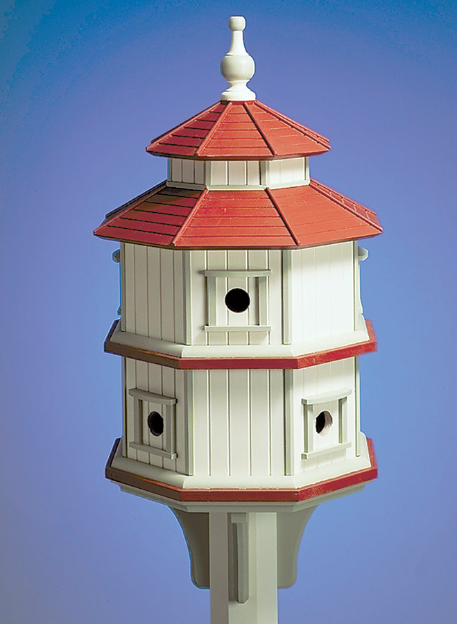 From the vertical siding to the pitched roof and detailed trim pieces, this eight-sided birdhouse has many of the features you'd expect to find on a real house.
