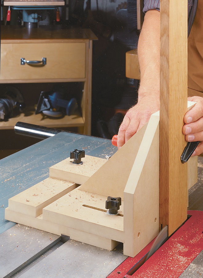 This jig has an indexing feature that allows you to cut perfect-fitting tenons every time, without having to set up the jig each time you use it.