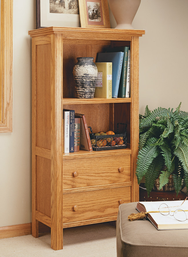 Build a stylish frame-and-panel bead-front bookcase with two drawers — in just two days.