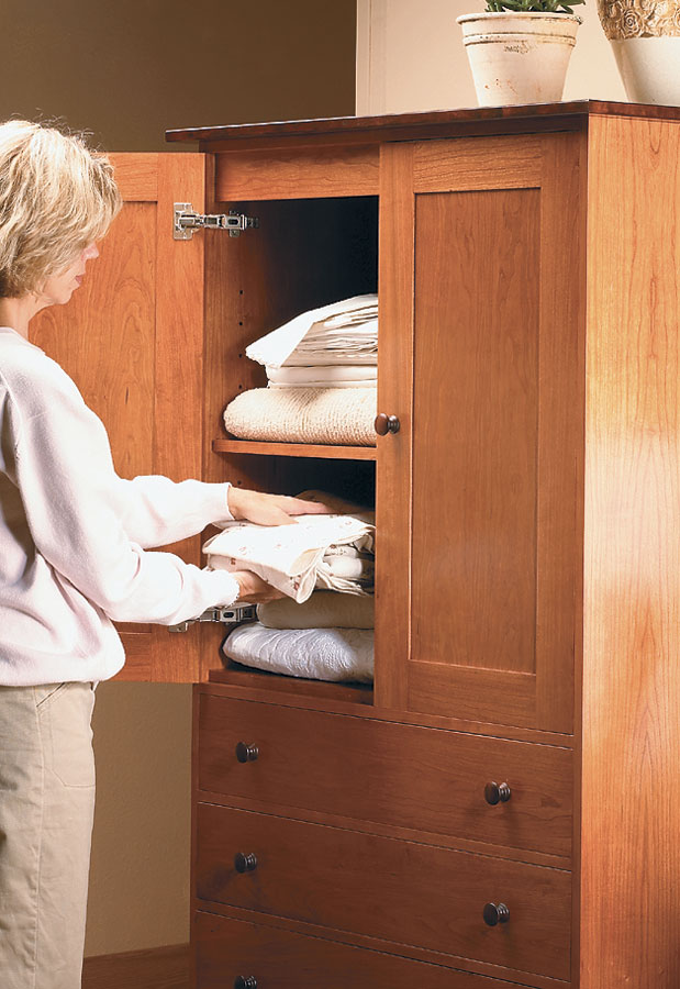 At six feet tall, this armoire has the storage capacity of a small closet. Or if you prefer, tuck away a small TV and DVD player!