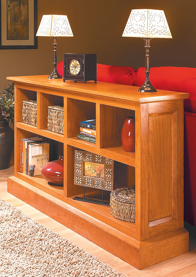 Start with a basic box made from a single sheet of plywood, then add a few solid frames to get a great-looking bookcase.