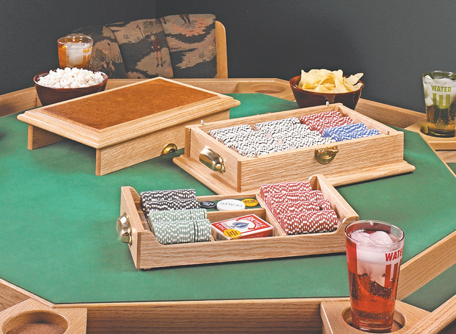 This poker chip case is unlike any other -- it features solid-brass hardware, a burl veneer top, and felt-lined chip trays.