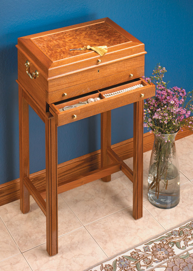 Finely crafted details and a bookmatched veneer top make this jewelry chest a real gem.