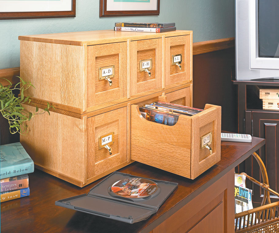 Organize your collection of DVDs in style with this easy-to-build, versatile storage case.