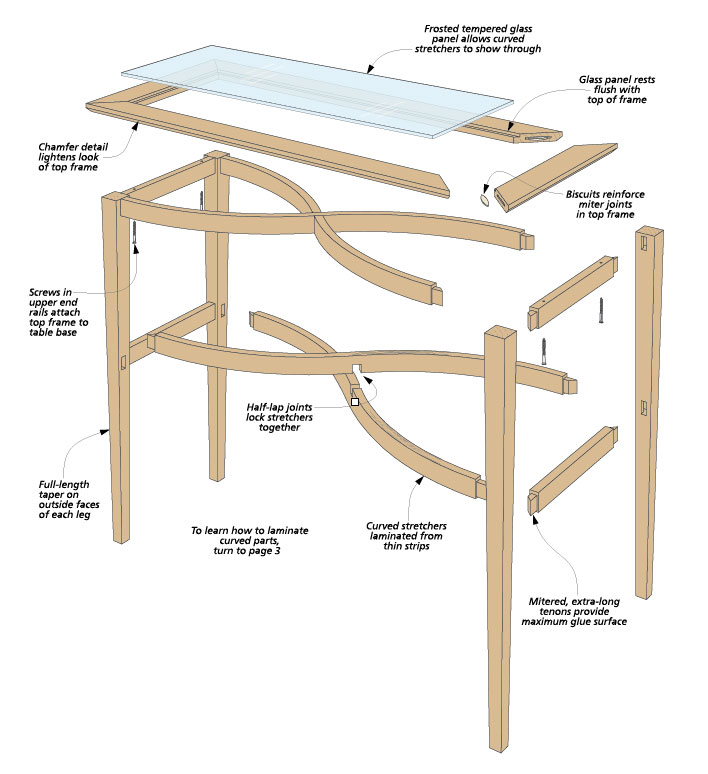 Bending wood — it's easier than it looks. And this elegant hall table is a great way to perfect your bent lamination skills.