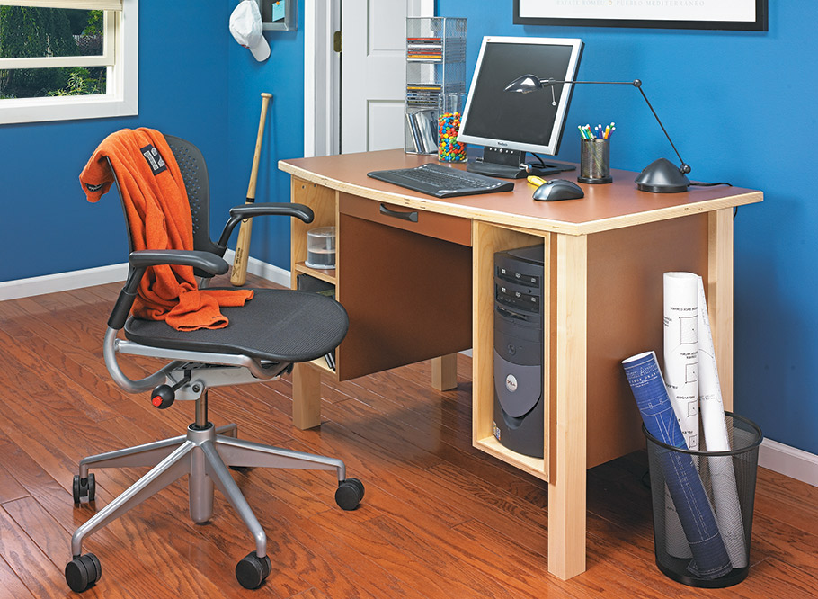 Simple plywood construction makes this desk solid. Plastic laminate gives it style.