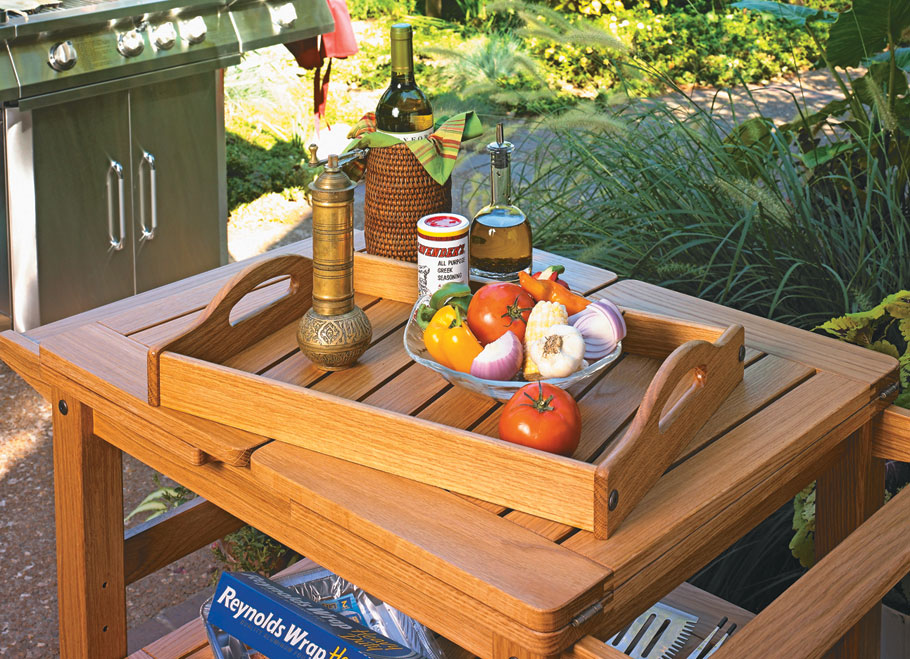 This easy-to-build cart features fold-out leaves, a recessed tray, and customized inserts. Perfect for your next cookout!