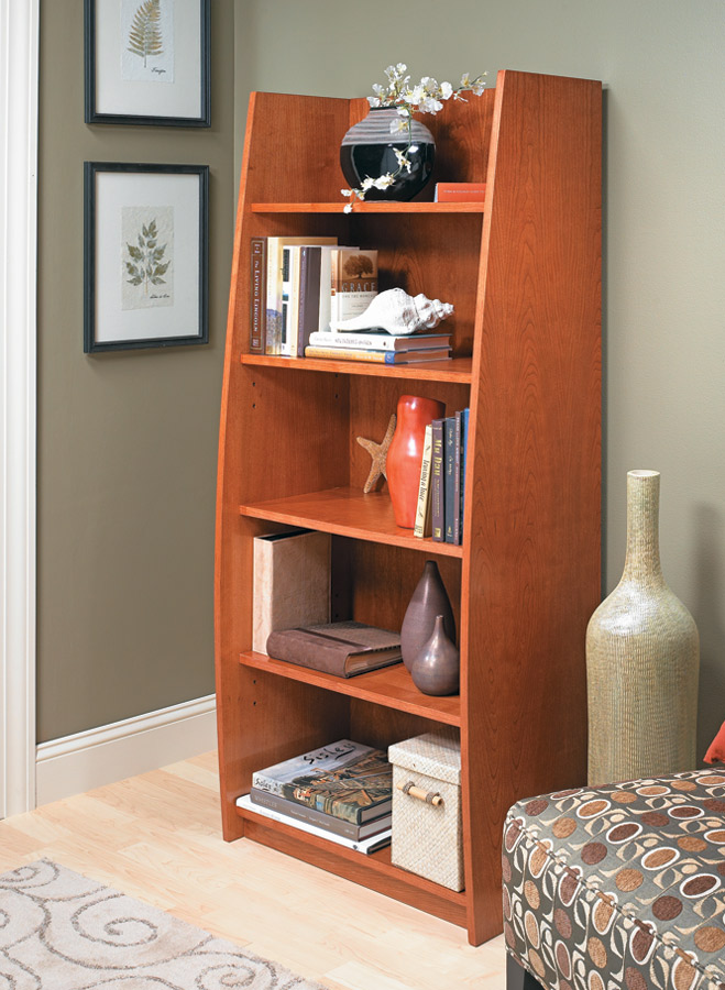 The gently curving sides of this bookcase give it a sophisticated look. But you'll be pleasantly surprised at how easy it goes together.