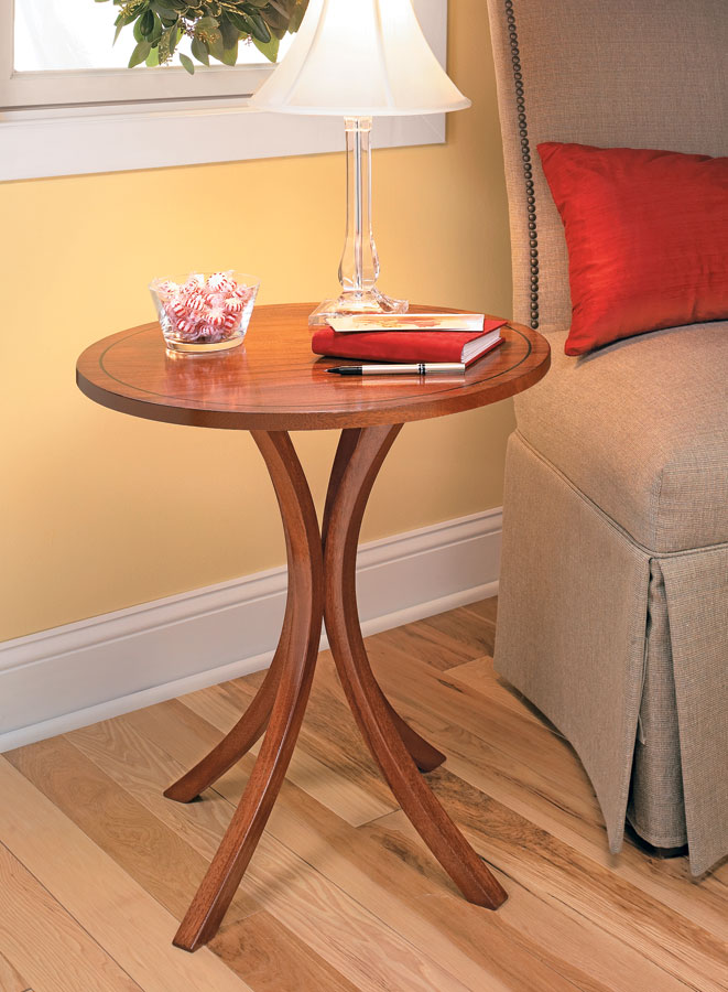 Create the gracefully curved legs for this table using an easy, bent-lamination technique.