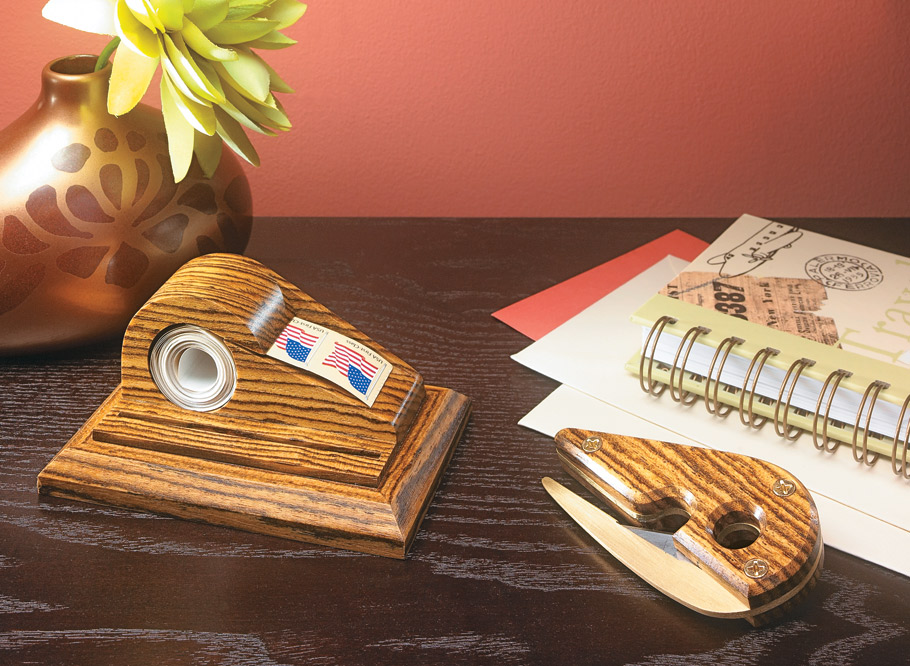 Combining brass and an eye-catching exotic hardwood, this handy desk set gives you the opportunity to develop some new skills.