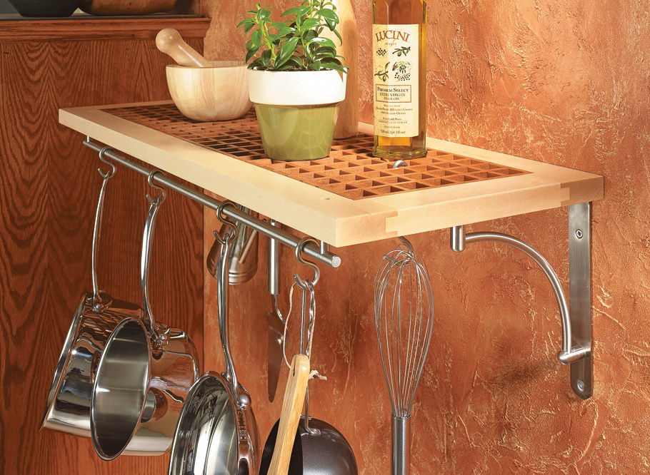 This decorative and handy kitchen shelf adds useful storage space right where you need it — within arm's reach of your work area.