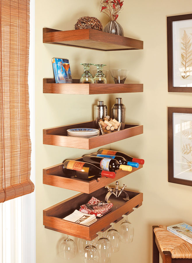 The free-floating design allows you to group these shelves in versatile and complementary arrangements.