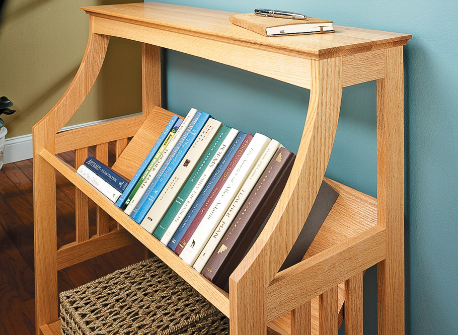 This stylish bookrack can be at home in any room of the house. The woodworking challenges make it a great project to build.