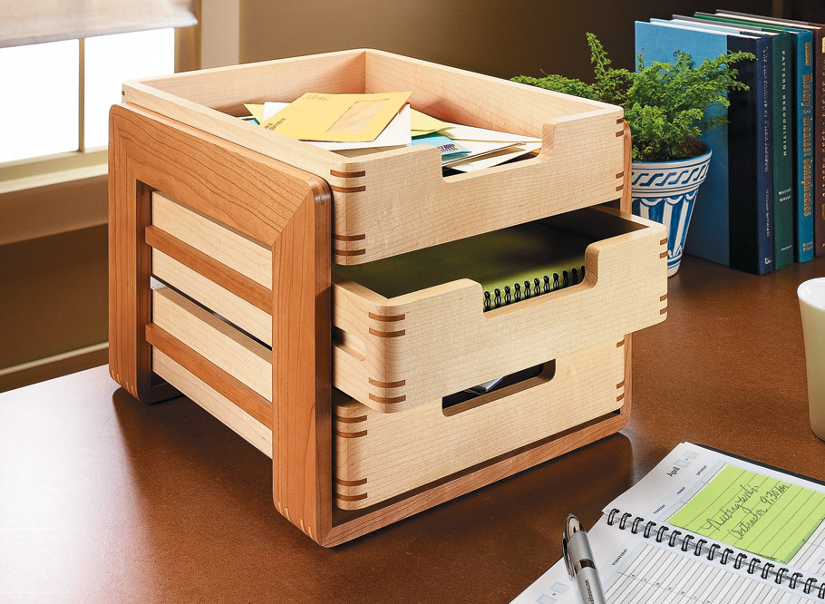 Identical trays make this stylish desk organizer go together quickly. But the joinery lets you show off your woodworking skills.